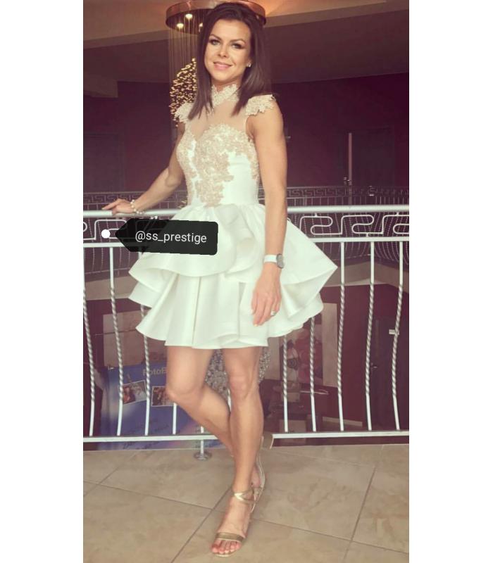 8a38d9bb3643 Luxusné krátke spoločenské šaty PRESTIGE Slávka Skoršepová