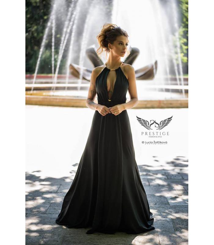f63e70cdcf8a Zuzana Plačková SSPRESTIGE Luxusné čierne dlhé spoločenské šaty ...